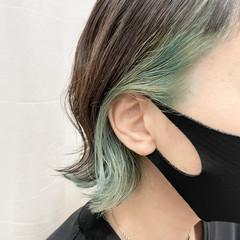 インナーカラー 透明感カラー ブリーチ モード ヘアスタイルや髪型の写真・画像