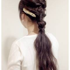 ロング ナチュラル ヘアアレンジ 三つ編み ヘアスタイルや髪型の写真・画像