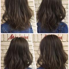 ミディアム ストリート アッシュ ハイライト ヘアスタイルや髪型の写真・画像