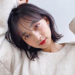 前髪 小顔ヘア 韓国ヘア ボブ ヘアスタイルや髪型の写真・画像