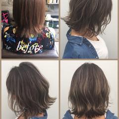 パーマ グレージュ ハイライト 外国人風 ヘアスタイルや髪型の写真・画像