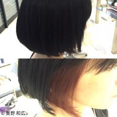 黒髪 モード ボブ インナーカラー ヘアスタイルや髪型の写真・画像