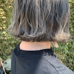 切りっぱなしボブ ボブ ミニボブ ブルーアッシュ ヘアスタイルや髪型の写真・画像