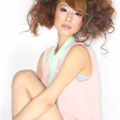モード ロング 丸顔 ヘアスタイルや髪型の写真・画像
