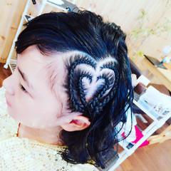 コーンロウ 編み込み 渋谷系 黒髪 ヘアスタイルや髪型の写真・画像
