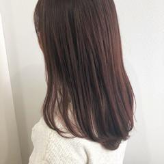 フェミニン ピンクブラウン デート ロング ヘアスタイルや髪型の写真・画像
