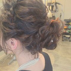 編み込み 結婚式 ゆるふわ セミロング ヘアスタイルや髪型の写真・画像