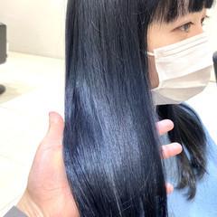 フェミニン ネイビーブルー ネイビージュ ミディアム ヘアスタイルや髪型の写真・画像
