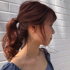 アプリコットオレンジ セミロング ヘアアレンジ ガーリー ヘアスタイルや髪型の写真・画像