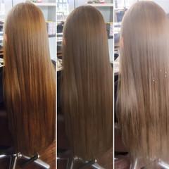 ロング アッシュグレージュ ストリート ブリーチ ヘアスタイルや髪型の写真・画像