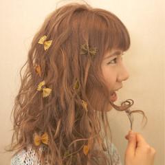 小顔 ロング ブリーチ セミロング ヘアスタイルや髪型の写真・画像