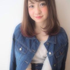 グラデーションカラー フェミニン ミディアム ナチュラル ヘアスタイルや髪型の写真・画像