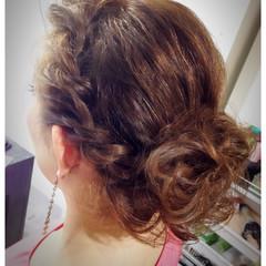 パーティ ヘアアレンジ 編み込み セミロング ヘアスタイルや髪型の写真・画像