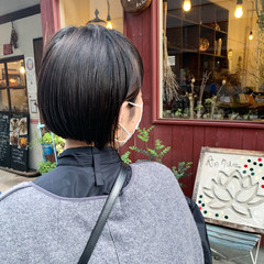 ボブ 切りっぱなしボブ ミニボブ 外ハネ ヘアスタイルや髪型の写真・画像