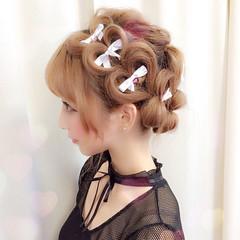 ミディアム ゆるふわ 簡単ヘアアレンジ ヘアアレンジ ヘアスタイルや髪型の写真・画像