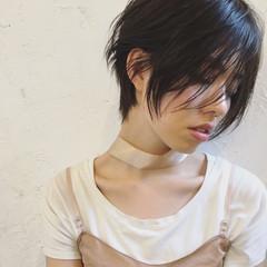ショート ナチュラル うざバング 小顔 ヘアスタイルや髪型の写真・画像