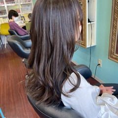 3Dハイライト フェミニン アッシュグレージュ ロング ヘアスタイルや髪型の写真・画像