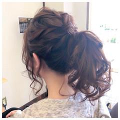 セミロング ヘアアレンジ ポニーテール 結婚式 ヘアスタイルや髪型の写真・画像