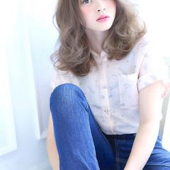 大人かわいい ミディアム 前髪あり ピュア ヘアスタイルや髪型の写真・画像