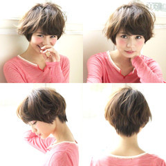 ショート ブラウン ボブ 外国人風 ヘアスタイルや髪型の写真・画像