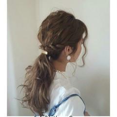 セミロング ナチュラル 簡単ヘアアレンジ ショート ヘアスタイルや髪型の写真・画像