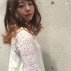 ガーリー グラデーションカラー フェミニン 夏 ヘアスタイルや髪型の写真・画像
