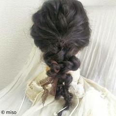 三つ編み 編み込み ヘアアレンジ セミロング ヘアスタイルや髪型の写真・画像