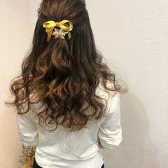 ブライダル ヘアアレンジ セミロング ハーフアップ ヘアスタイルや髪型の写真・画像