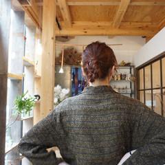 ヘアアレンジ オレンジカラー オレンジ ミディアム ヘアスタイルや髪型の写真・画像