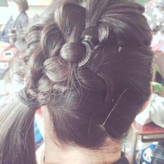 ねじり セミロング 三つ編み かわいい ヘアスタイルや髪型の写真・画像