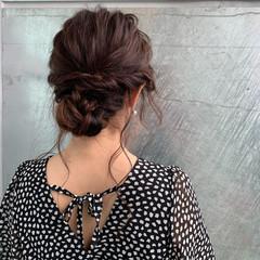 上品 シニヨン セミロング 大人女子 ヘアスタイルや髪型の写真・画像