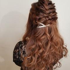 ヘアアレンジ ロング 結婚式 ガーリー ヘアスタイルや髪型の写真・画像