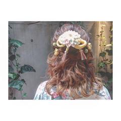 ヘアアレンジ グラデーションカラー ゆるふわ ハーフアップ ヘアスタイルや髪型の写真・画像