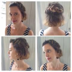 ヘアアレンジ 簡単ヘアアレンジ ショート ボブ ヘアスタイルや髪型の写真・画像