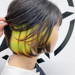 モード ボブ インナーカラー ブリーチオンカラー ヘアスタイルや髪型の写真・画像
