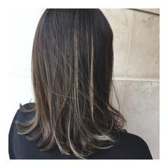 外国人風カラー ハイライト 外国人風 ミディアム ヘアスタイルや髪型の写真・画像