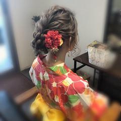 ミディアム アップスタイル 浴衣アレンジ フェミニン ヘアスタイルや髪型の写真・画像