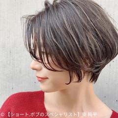 丸みショート ショートボブ ナチュラル 暗髪 ヘアスタイルや髪型の写真・画像