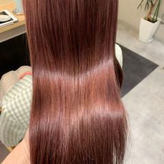 ピンクブラウン ピンクカラー ガーリー チェリーピンク ヘアスタイルや髪型の写真・画像