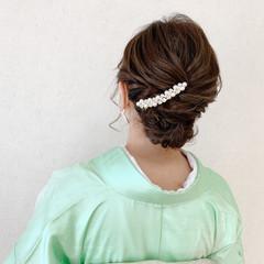 着物 留袖 振袖 ミディアム ヘアスタイルや髪型の写真・画像