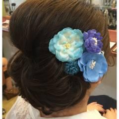 夏 ヘアアレンジ 花火大会 シニヨン ヘアスタイルや髪型の写真・画像