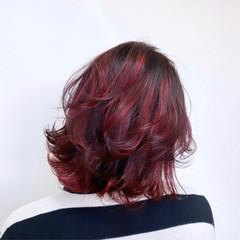 ボブ ハイライト 暖色 派手髪 ヘアスタイルや髪型の写真・画像