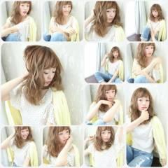 コンサバ ミディアム ゆるふわ モテ髪 ヘアスタイルや髪型の写真・画像