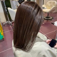 シルバーアッシュ 大人ハイライト モード ロング ヘアスタイルや髪型の写真・画像