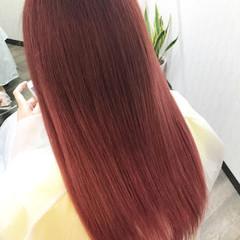 ピンク 透明感 フェミニン ロング ヘアスタイルや髪型の写真・画像
