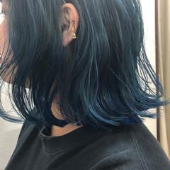ブルーグラデーション ボブ ストリート ターコイズブルー ヘアスタイルや髪型の写真・画像