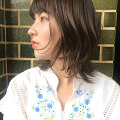 抜け感 透明感 ミディアム パーマ ヘアスタイルや髪型の写真・画像