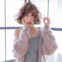 大人かわいい フェミニン パーマ ボブ ヘアスタイルや髪型の写真・画像