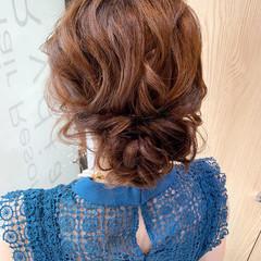 ゆるふわセット お呼ばれヘア ナチュラル 結婚式ヘアアレンジ ヘアスタイルや髪型の写真・画像