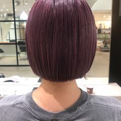 ピンクパープル ブリーチ ピンク ミニボブ ヘアスタイルや髪型の写真・画像